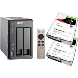 QNAP TS-251+-2G 2 Bay NAS + 2x Seagate 4TB IronWolf NAS HDD